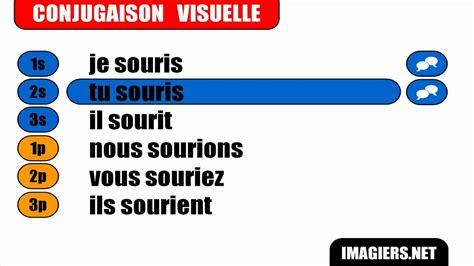 French verb conjugation = Sourire = Indicatif Présent ...