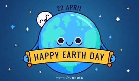 Friednly feliz Día de la Tierra de dibujos animados ...
