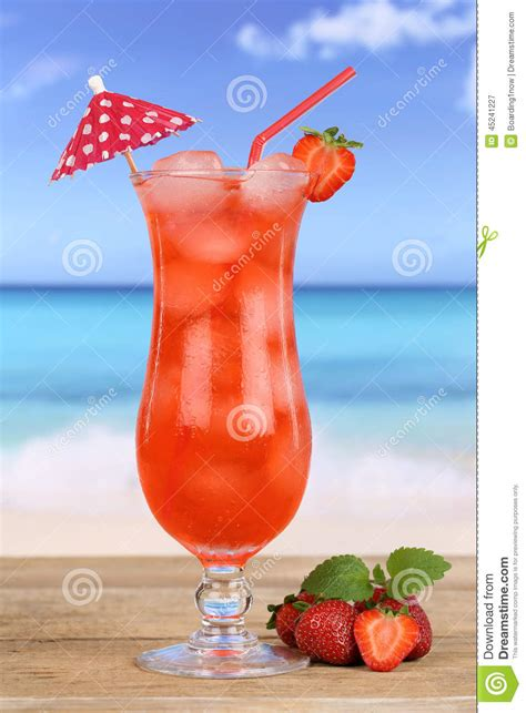 Fruity Strawberry Fruit Cocktail Juice Drink On The Beach ...