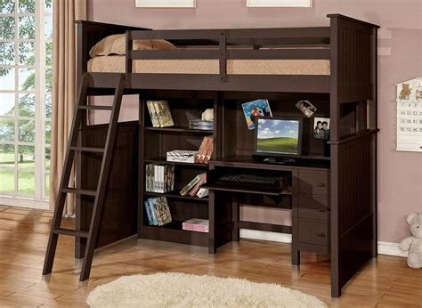 Full Size Loft Bed With Desk And Storage Brown Wooden ...