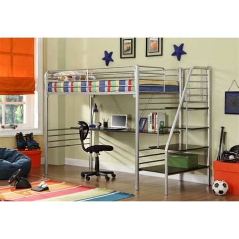Full Size Metal Loft Bed with Desk | Bed & Headboards