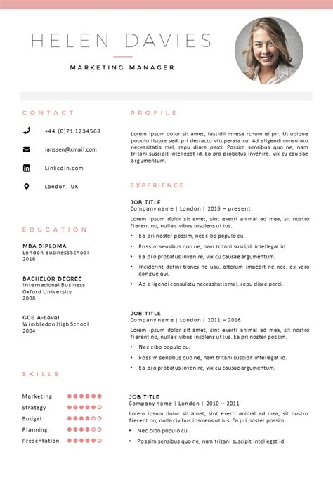 Fully editable resume / cv template in MS Word, 2 page ...