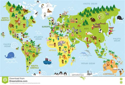 Funny Cartoon World Map With Children Of Different ...