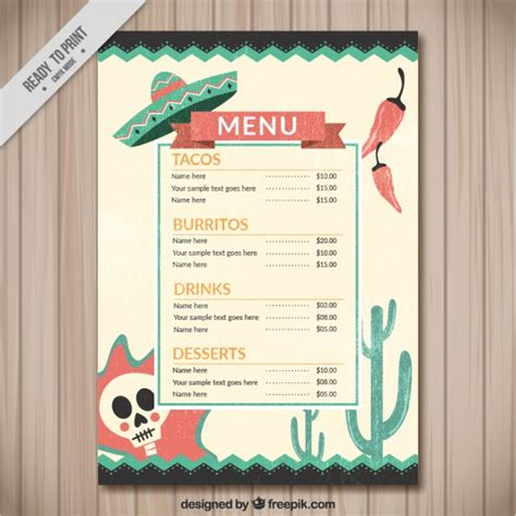Funny mexican menu with typical mexican things Vector ...
