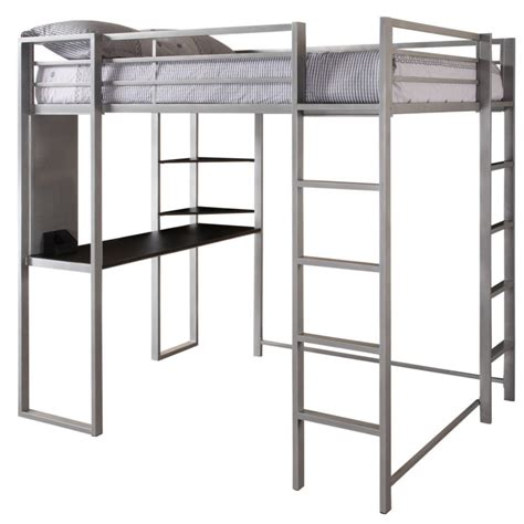 Furniture. Full Size Corner Loft Bunk Bed With Desk And ...