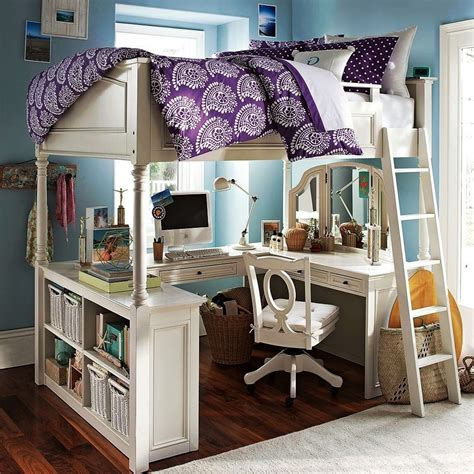Furniture. Grey Wooden Loft Beds With Desks Underneath And ...