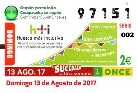 Galería de Cupones de la ONCE premiados - Agosto de 2017
