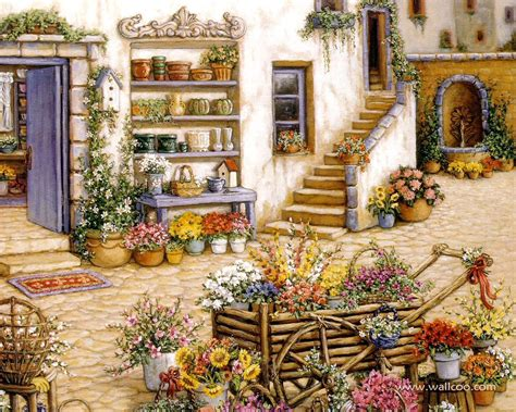 Gardens and Florals Art Paintings - Romantic Realistic ...