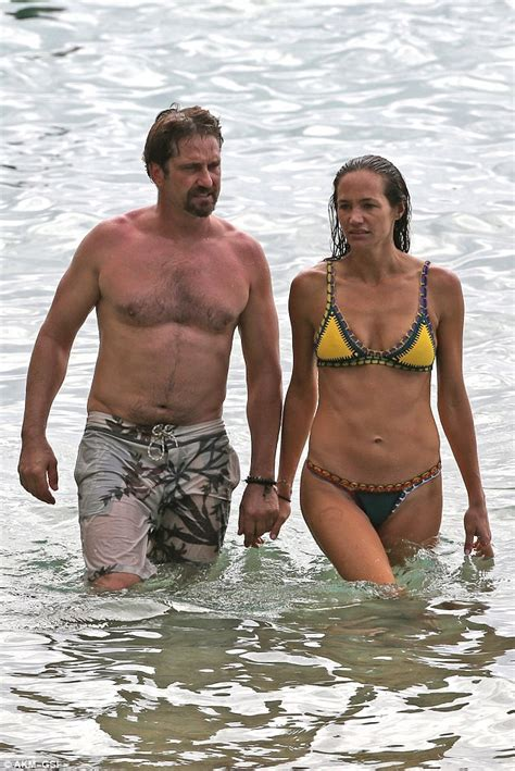 Gerard Butler and bikini clad girlfriend Morgan Brown ...
