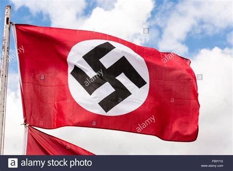 German red, white and black Nazi swastika flag. Fluttering ...