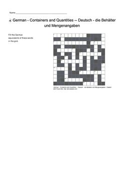 German Vocabulary - Containers and Quantities Crossword ...