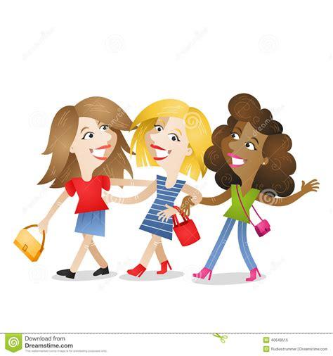 Girlfriends Walking Attractive Friendship Stock Vector ...