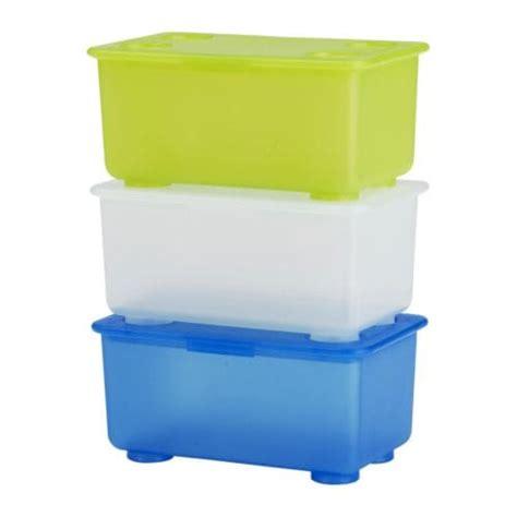 GLIS Box with lid - white/light green/blue - IKEA