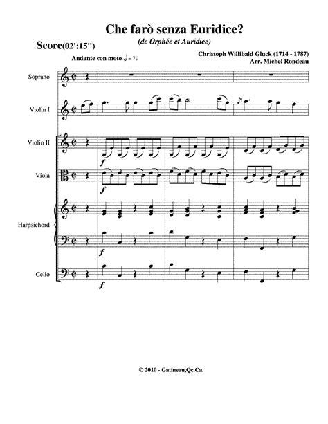 gluck orfeo ed euridice piano