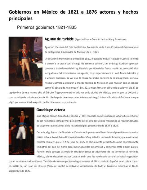 Gobiernos en mexico de 1821 a 1876 actores y hechos ...