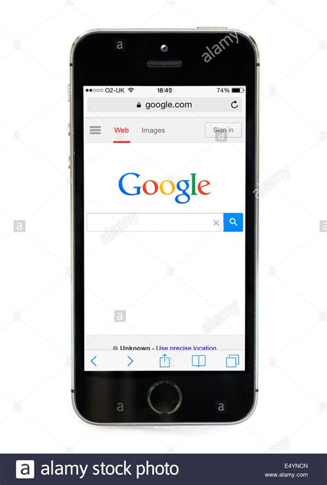Google home page on an Apple iPhone 5S, UK Stock Photo ...