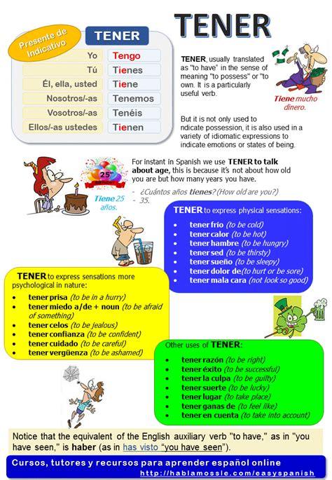 Gramátia y vocabulario - El verbo TENER: formas del ...