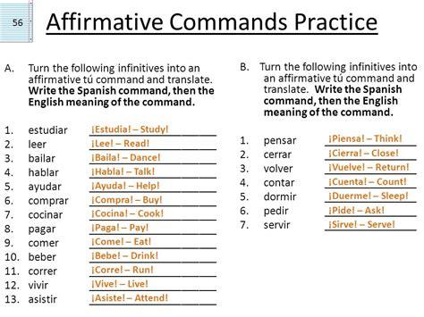 Gramática 1.2 Affirmative Informal Commands Negative ...
