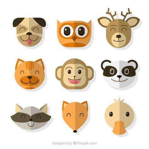 Great emoticons with cute animals Vector | Free Download