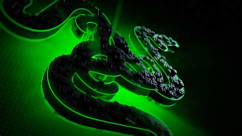 Green 3d Razer Logo 4k | Gaming Desktop HD Wallpaper