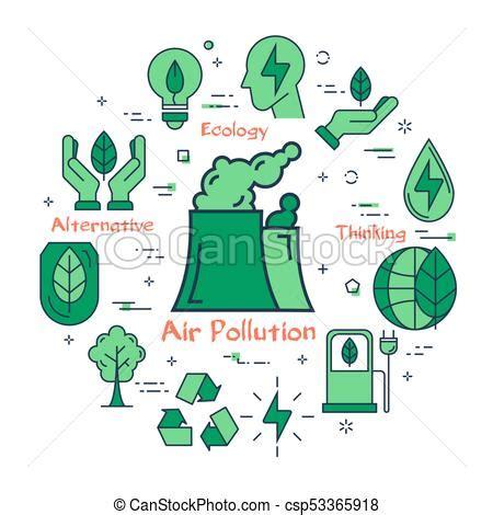 Green air pollution concept. Vector linear green round ...