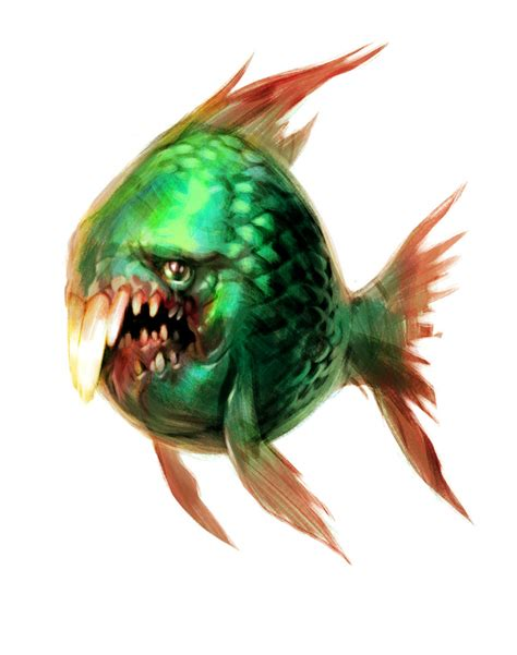 green fish with teeth by Jastorama on DeviantArt