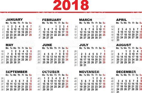 Grid Calendar For 2018 Illustracion Libre de Derechos ...