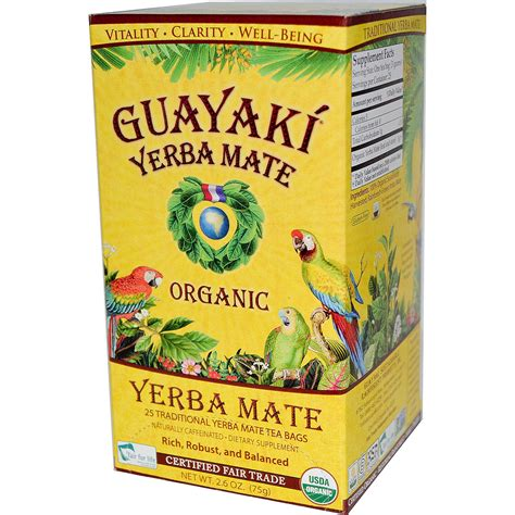 Guayaki, Organic Yerba Mate, 25 Tea Bags, 2.6 oz  75 g ...