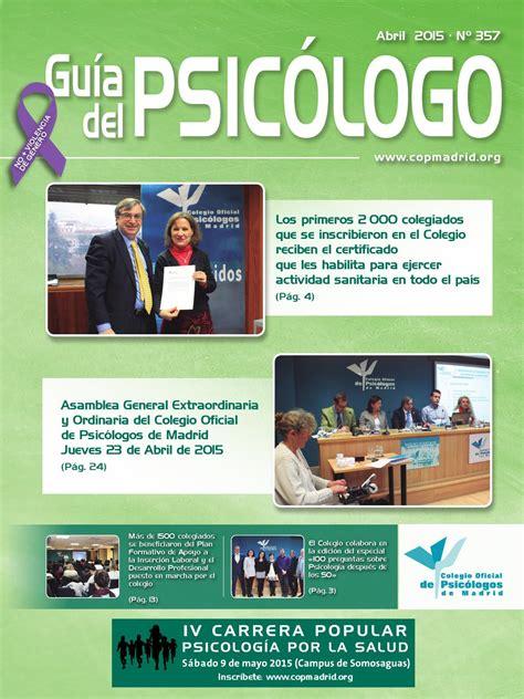 Guía del Psicólogo del mes de abril by Colegio Oficial de ...
