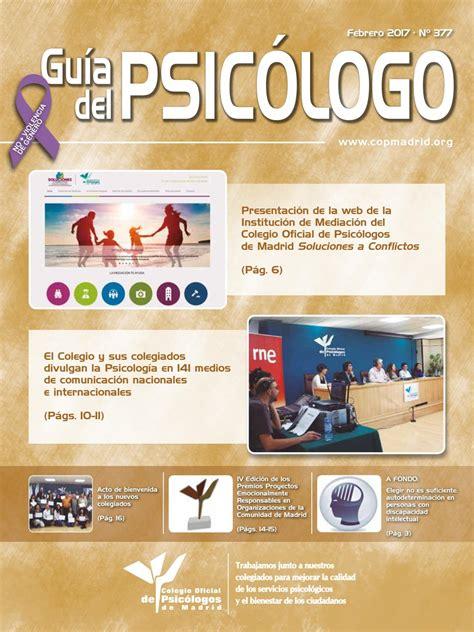 Guía del Psicólogo mes de Febrero 2017 by Colegio Oficial ...