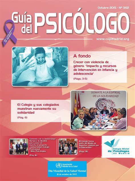 Guía del Psicólogo mes de Octubre 2015 by Colegio Oficial ...