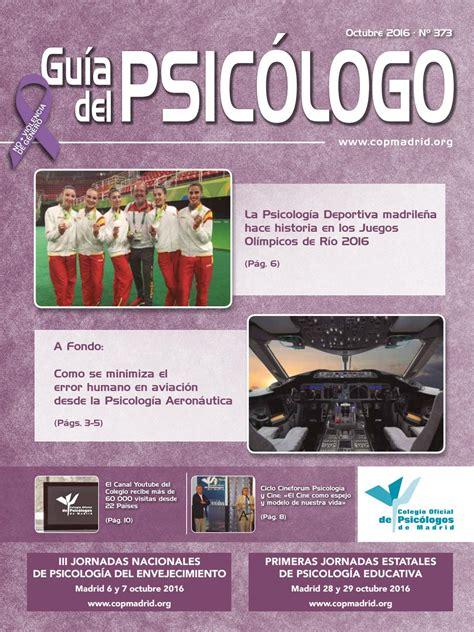 Guía del Psicólogo mes de Octubre 2016 by Colegio Oficial ...
