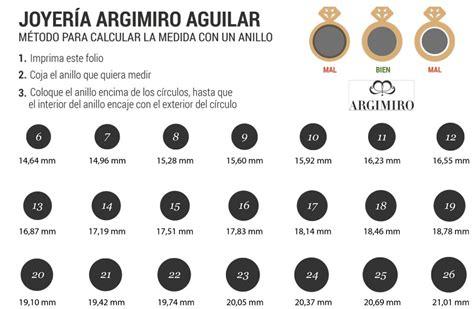 guía tallas anillos - Argimiro Joyero