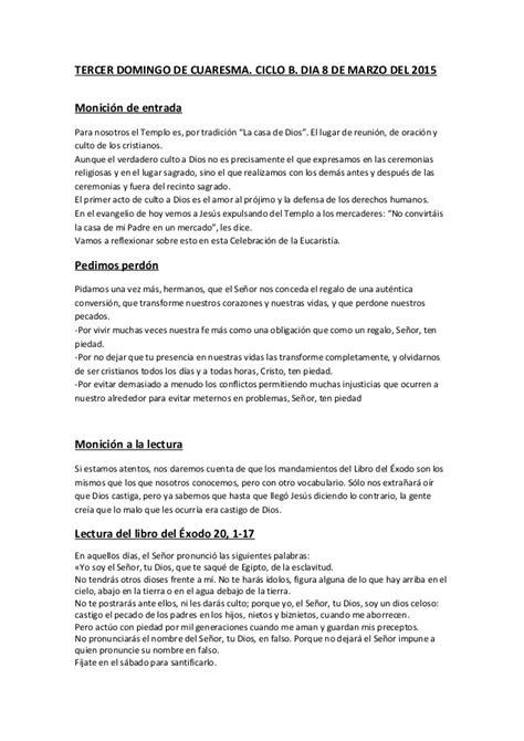 GUIÓN SIN CANCIONES DE LA EUCARISTÍA DEL DOMINGO TERCERO ...