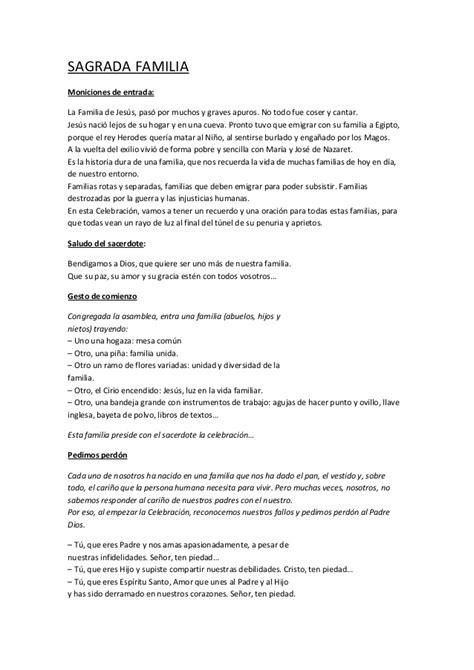 GUIÓN SIN CANCIONES DE LA SAGRADA FAMILIA. CICLO B. DIA 28 ...