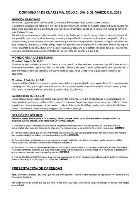 GUIÓN SIN CANCIONES DEL DOMINGO 4º DE CUARESMA. CICLO C ...
