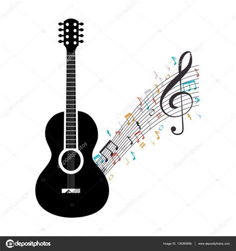 guitarra acústica con notas musicales — Vector de stock ...
