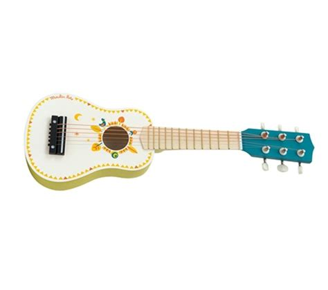 Guitarra pequeña pinatda de madera
