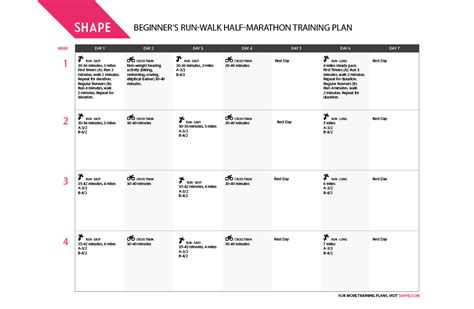 Half Marathon Training Schedule for Beginner Runners ...