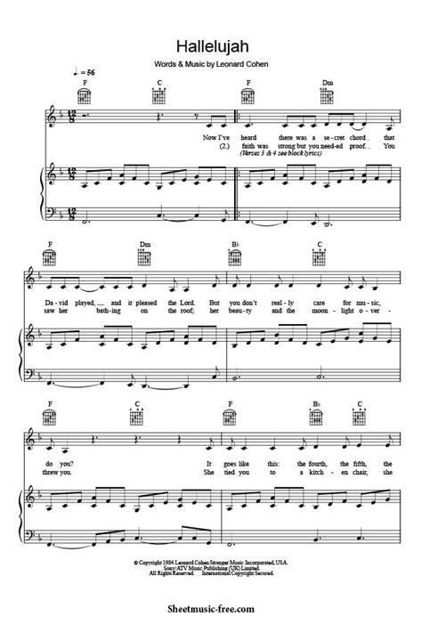 Hallelujah Piano Sheet Music Leonard Cohen - Sheet Music Free
