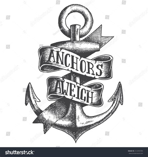Hand Drawn Anchor Ribbon Stock Vector 212455795   Shutterstock