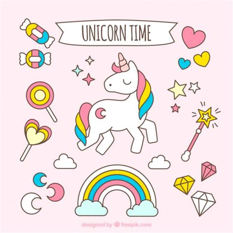 Hand drawn lovely unicorn with accessories Vector | Free ...