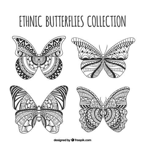 Hand gezeichnet ethnischen Schmetterlinge Satz | Download ...