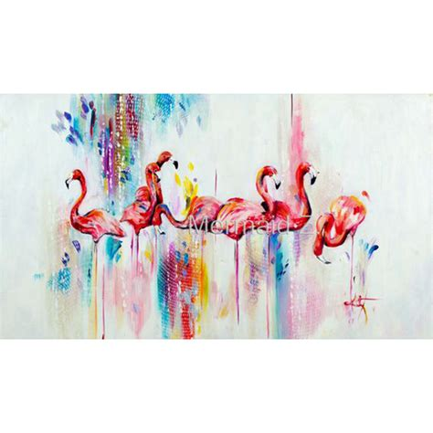 Hand Painted Modern Style Abstract Animals Flamingos Oil ...