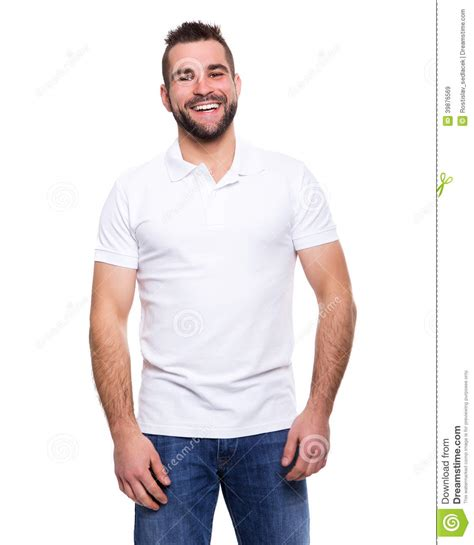 Handsome Guy In Blue Shirt Pointing Royalty Free Stock ...