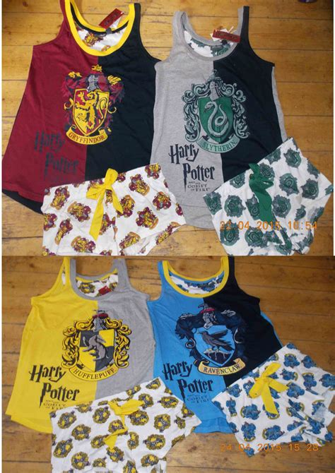 HARRY POTTER Ladies Pyjamas HOGWARTS HOUSE CRESTS Vest T ...