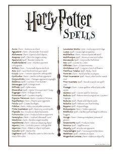 harry potter lista pequeña de grandes hechizos   Harry ...