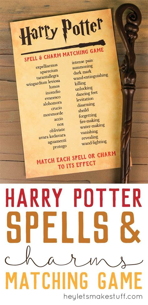 Harry Potter Spells and Charms Matching Game | **Recipes ...