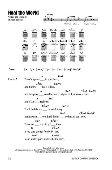 Heal The World sheet music by Michael Jackson (Lyrics ...