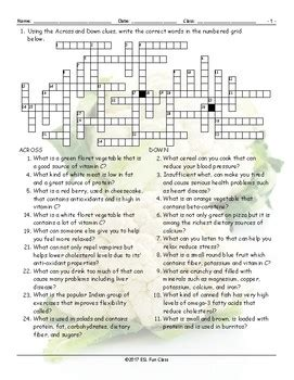 Healthy Lifestyle-Nutrition Crossword Puzzle | TpT